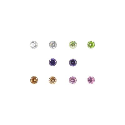 Multis 5Pair Multi Color Cubic Zirconia Earring