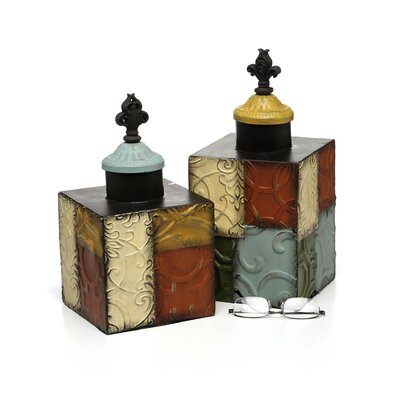 Bombay Heritage 2 Piece Patch Decorative Jar Set