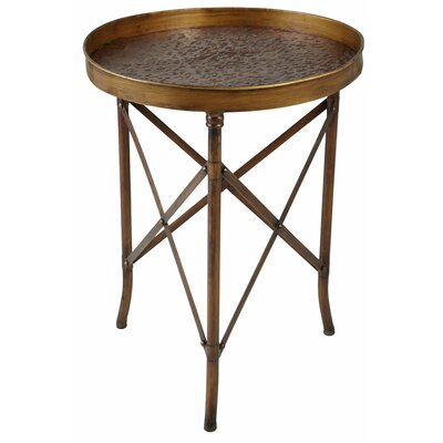 Scroll Embossed Metal Side Table