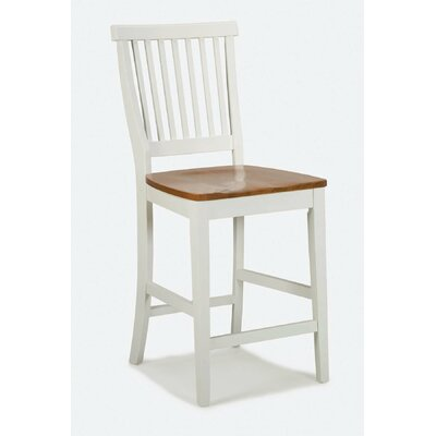 Kitchen Stool with Oak Seat in White