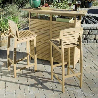 Home Styles Bali Hai 3 Piece Bar Set in Teak
