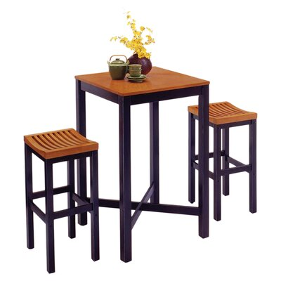 Home Styles Contour Black Pub Set with Natural Top