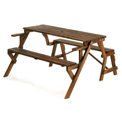 Zingz & Thingz Convertible Wood Picnic Table and Garden Bench