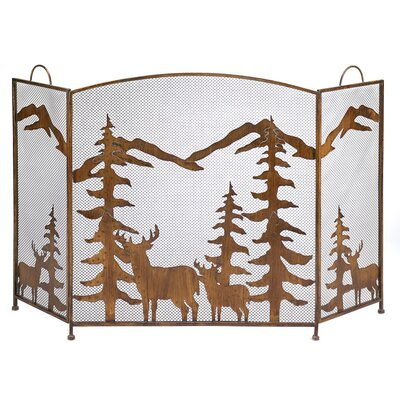 Mountain Wilderness 3 Panel Wrought Iron Fireplace Screen