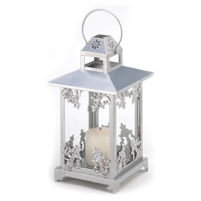 Zingz & Thingz Frosted Vines Iron and Glass Lantern