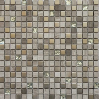 "Faber Fusion Series 12"" x 12"" Mixed Metal Glass Marble Mosaic"