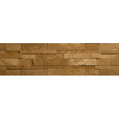 Noce Travertine Cubic Honed Random Sized Wall Cladding Tile in Brown