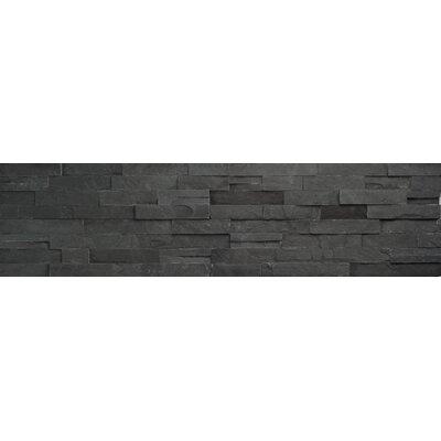 Faber Coal Ledge Stone Split Face Random Sized Wall Cladding Tile in Black