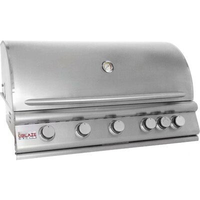 "Blaze Grills 40"" 5-Burner Built-In Gas Grill with Rear Infrared Burner"