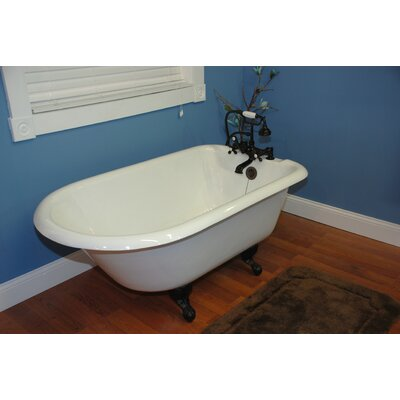 "Cambridge Plumbing 60.5"" x 23.25"" Rolled Rim Soaking Claw Foot Bathtub"