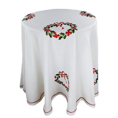 Country Wreath Embroidered Hemstitch 90-Inch Round Holiday Tablecloth