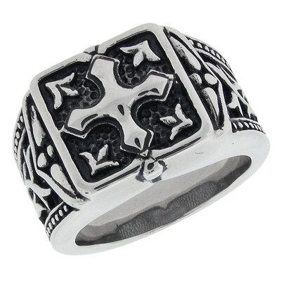 GoldnRox Men's Stainless Steel Cross Ring