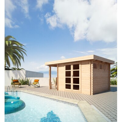 "SolidBuild Moderna 13' W x 9'9"" D Solid Wood Pool House and Garden Shed"