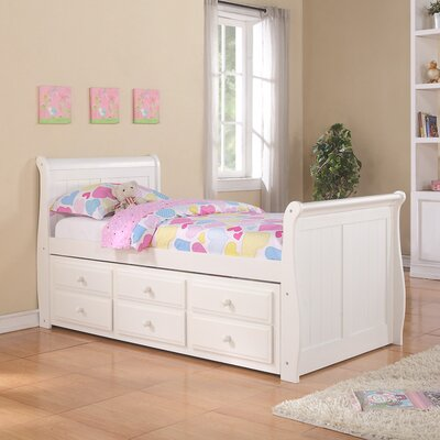 Donco Kids Sleigh Captain Bed with Trundle and Storage Drawers