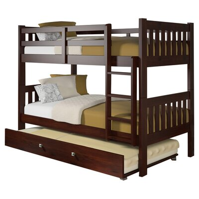 Donco Kids Twin Over Twin Bunk Bed with Twin Trundle Bed