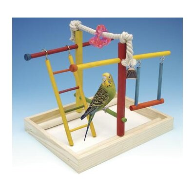 Penn Plax Medium Wooden Playground Bird Activity Center