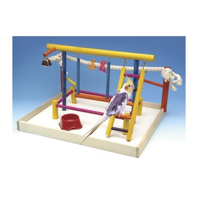 Penn Plax Extra Large Wooden Playground Bird Activity Center