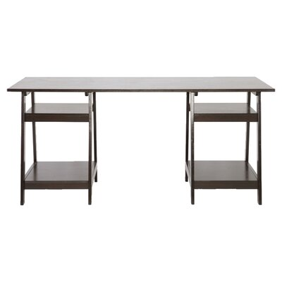 Wholesale Interiors Baxton Studio Large Mott Wood Modern Writing Desk with Sawhorse Legs