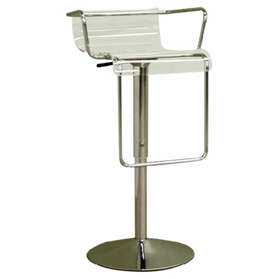 Wholesale Interiors Chartreuse Low - Back Acrylic Adjustable Height Barstool in Clear