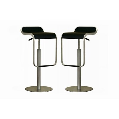 Wholesale Interiors Cinsault Low - Back Adjustable Height Barstool in Black (Set of 2)