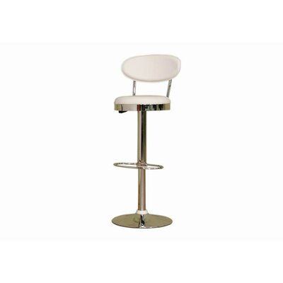 Chardonnay Mid - Back Adjustable Height Barstool in White