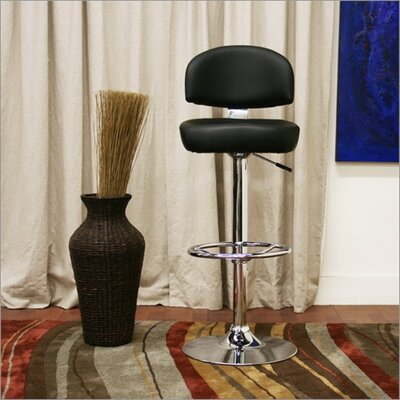 Wholesale Interiors Baxton Studio Grayson Faux Leather Barstool in Black (Set of 2)