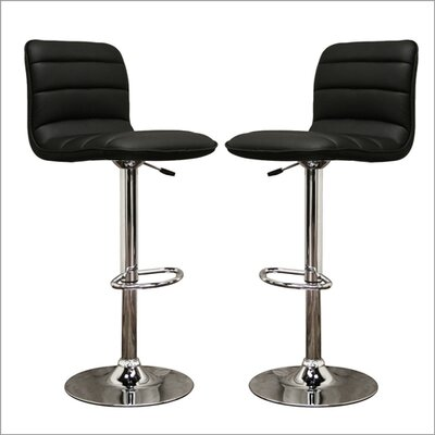Wholesale Interiors Baxton Studio Lyris Faux Leather Barstool in Black (Set of 2)