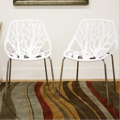 Wholesale Interiors Baxton Studio Birch Sapling Dining Chair in White (Set of 2)