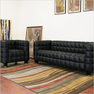 Baxton Studio 2 Piece Arriga Leather Modern Sofa Set