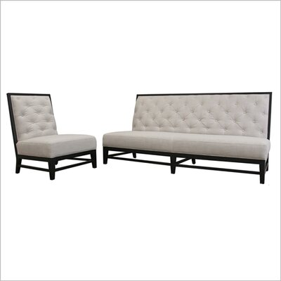 Wholesale Interiors Baxton Studio Bristol Tufted Linen Modern Sofa Set