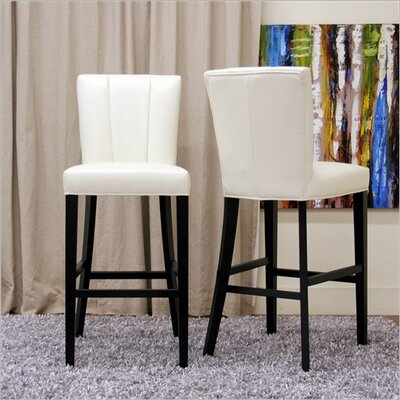 Wholesale Interiors Baxton Studio Janvier Modern Leather Bar Stool in Off-White