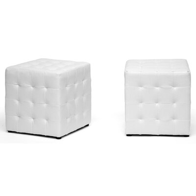 Wholesale Interiors Baxton Studio Siskal Modern Cube Ottoman (Set of 2)
