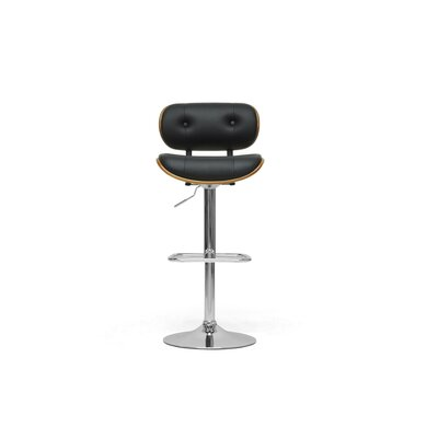 "Wholesale Interiors Baxton Studio Leona Modern 27"" Adjustable Swivel Bar Stool with Cushion"
