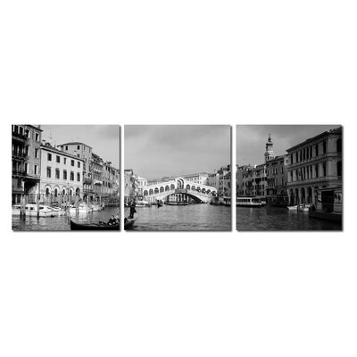 Baxton Studio Rialto Bridge Mounted 3 Piece Photographic Print on Canvas Set