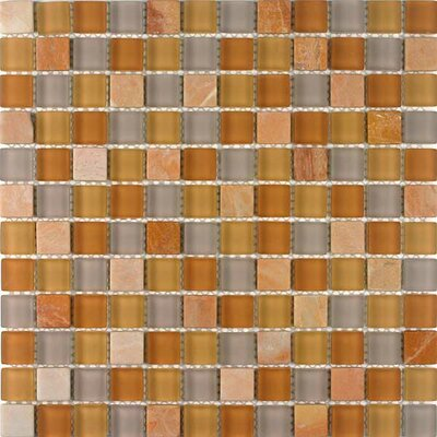 "Giorbello Glacier Mountain 11-3/4"" x 11-3/4"" Tile with Squares in Terra Firma"