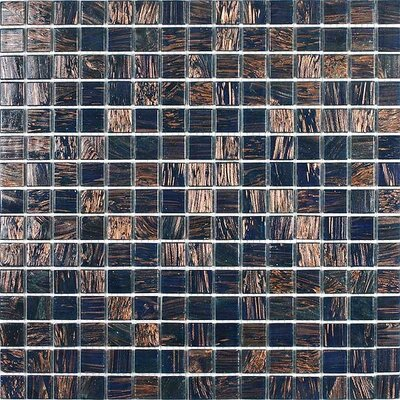 Gold Leaf Glass Tile in Midnight Blue