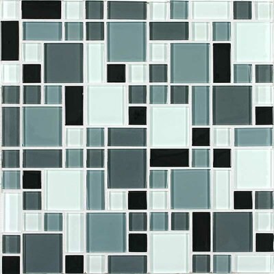 Constellation Random Sized Cristezza Glass Tile in Black Pepper
