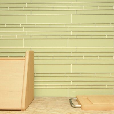 Club Random Sized Cristezza Glass Tile in Light Olive