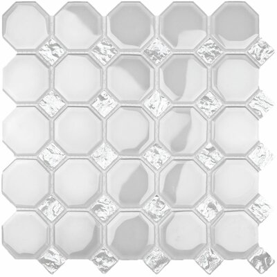 Water Jet Random Sized Glass Tile in Bright White