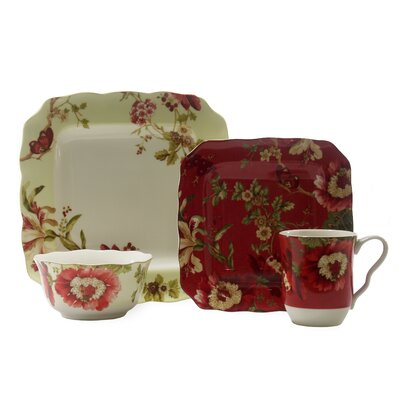 222 Fifth Lutece SQ 16 Piece Dinnerware Set