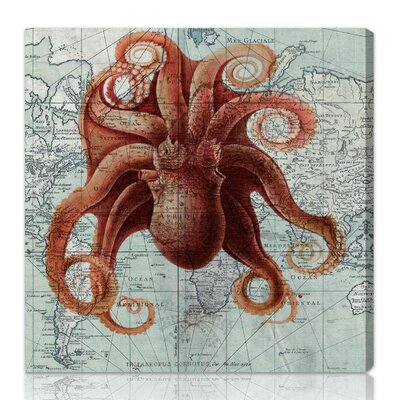 "Oliver Gal ""Octopus"" Graphic Art on Canvas"