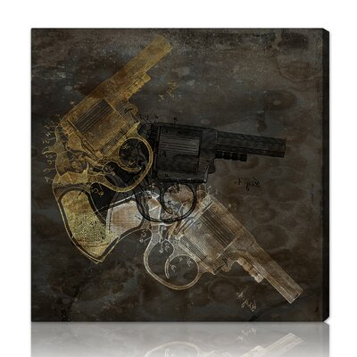 ''Gold Revolver'' Graphic Art on Canvas
