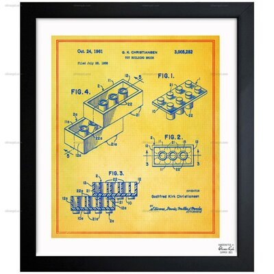 Lego Toy Building Brick 1961 Framed Painting Print in Colorful