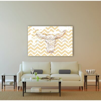 "Oliver Gal ""Chevron Skull"" Graphic Art on Canvas"