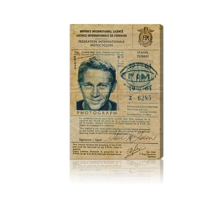 Oliver Gal ''Steve McQueen's Driver License'' Canvas Art Print