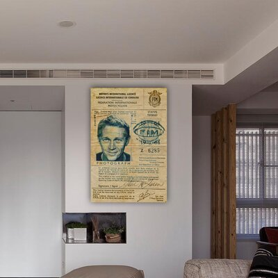 Oliver Gal ''Steve McQueen's Driver License'' Graphic Art on Canvas