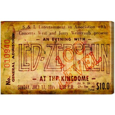Led Zeppelin Concert Ticket Textual Art on Canvas