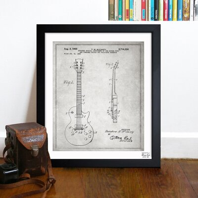Oliver Gal Gibson Les Paul Guitar 1955 Framed Art
