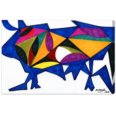Bull Sunrise Graphic Art on Canvas