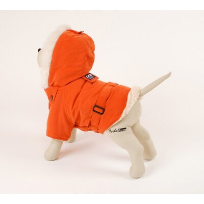 PetEgo Italian Dog Coat with Faux Fur-Lined Hood in Orange